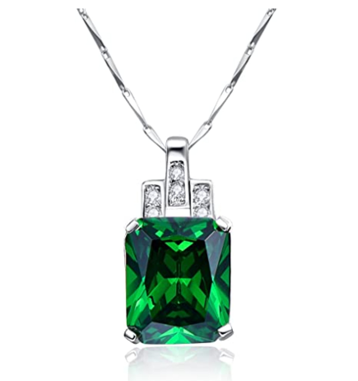 BONLAVIE Womens Pendant Necklace with Created Emerald Cubic Zirconia CZ Birthstone 925 Sterling Silver Chain Pendant Christmas Romantic Date Gift
