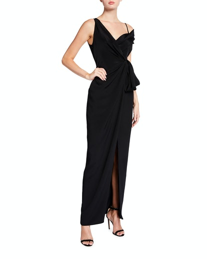 Off-the-Shoulder Silk Draped Gown