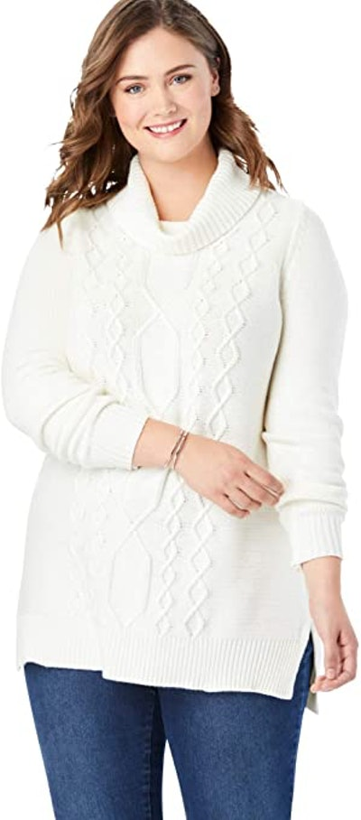 Woman Within Plus Size Cable Knit Turtleneck Sweater