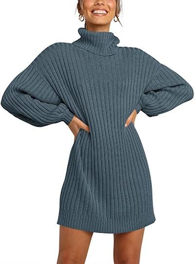ANRABESS Lantern Sleeve Turtleneck Sweater Dress