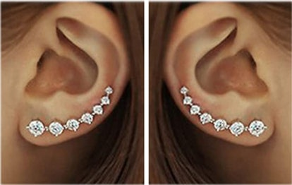 7 Crystals Sterling Silver Ear Climbers
