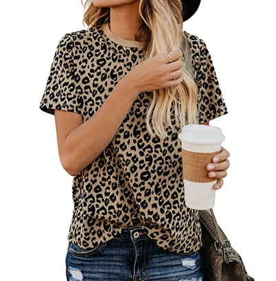 Blooming Jelly Leopard Print Short Sleeve Tee