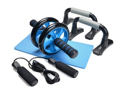 Odoland AB Wheel Roller Kit AB Roller Pro with Push-Up Bar, Jump Rope and Knee Pad