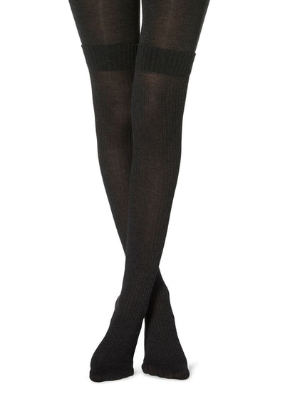 Cashmere over-the-knee effect tights