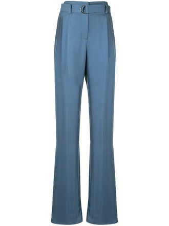 Silky twill belted trousers