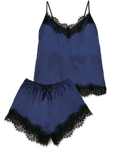 Kikibell Satin Cami Set Lace Nightwear