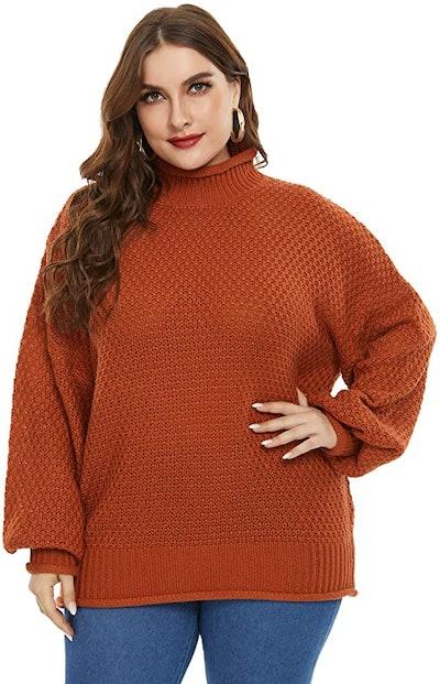 Hanna Nikole Plus Size Texture Knit Turtleneck Sweater