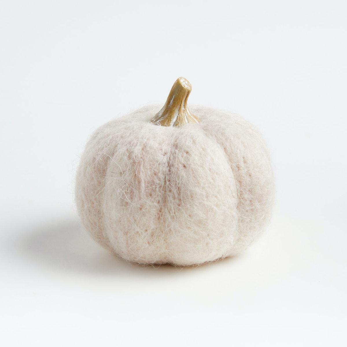 Small Beige Felt Pumpkin