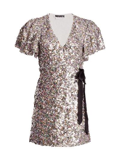 Rotate Birger Christensen Frida Sequin Wrap Dress