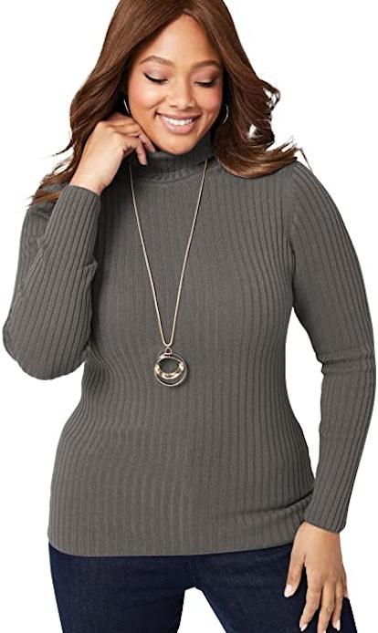 Jessica London Plus Size Ribbed Cotton Turtleneck Sweater