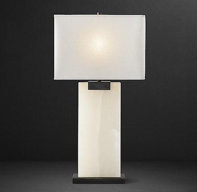 Rectangular Column Alabaster Table Lamp