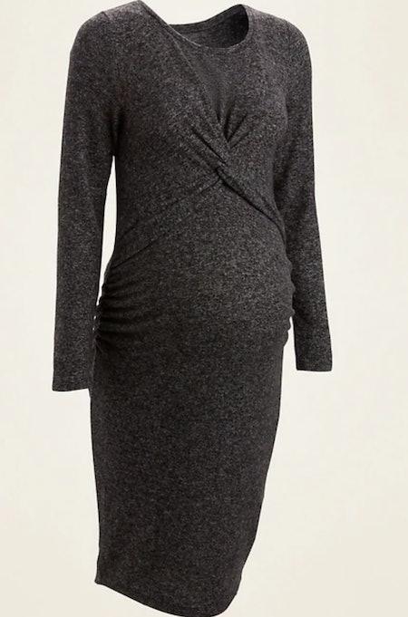 Maternity Cozy Plush-Knit Twist-Front Bodycon Dress in Black Jack