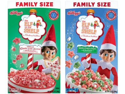 Kellogg's introduces a new holiday flavor in The Elf on the Shelf Vanilla Candy Cane Cookie cereal.