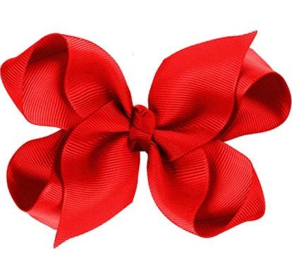 CoverYourHair Red Hair Bow - Boutique Bows - Grosgrain Ribbon Hair Bow - Large Bow Clip - Hair Accessories