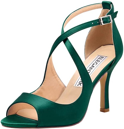 ElegantPark Women Peep Toe High Heel Sandals Cross Strappy Wedding Evening Dress Shoes Buckle Stain