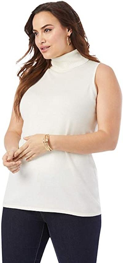 Jessica London Plus Size Sleeveless Turtleneck Cashmere Blend Sweater