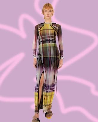 Plaid Mesh Dress
