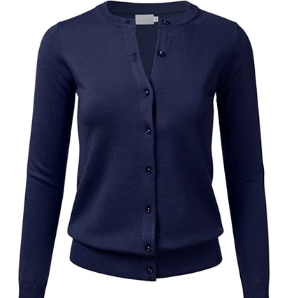 FLORIA Women's Gem Button Crew Neck Long Sleeve Soft Knit Cardigan Sweater (S-3XL)