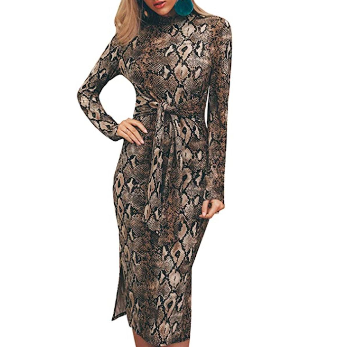 Miessial Women's Long Sleeve Leopard Print Midi Dress Fall Winter Tie Waist Sexy Bodycon Dress