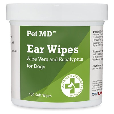 Pet MD Dog Ear Cleaner Wipes to Stop Itching (100 count)