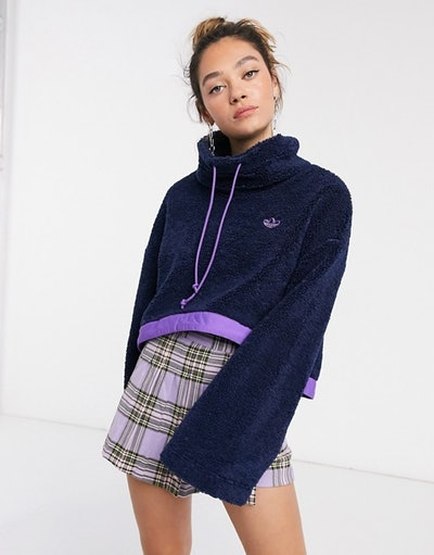 adidas Originals Bellista logo cropped fleece with contrast hem in navy