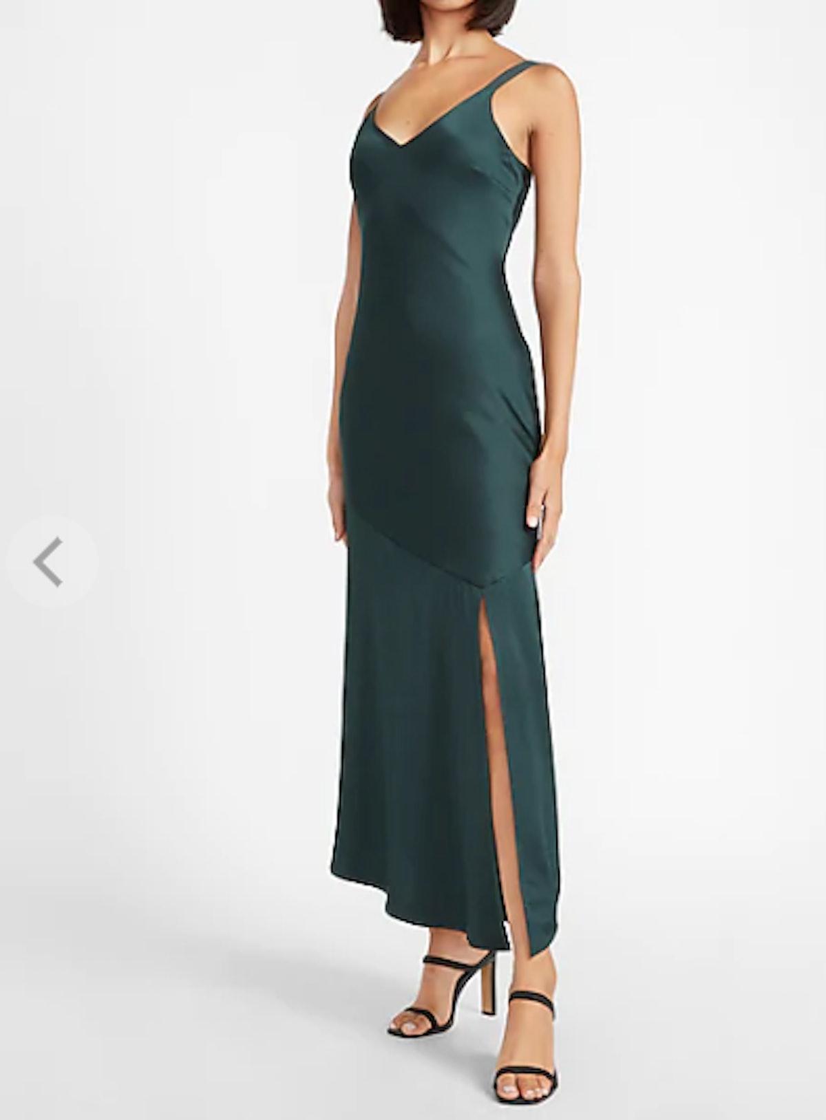 Satin V-Neck Midi Slip Dress