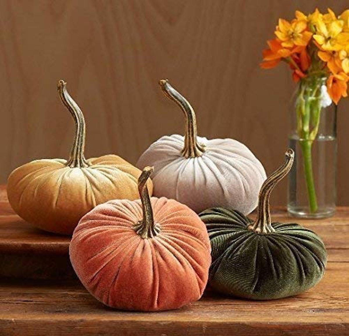 Small Velvet Pumpkins Set of 4