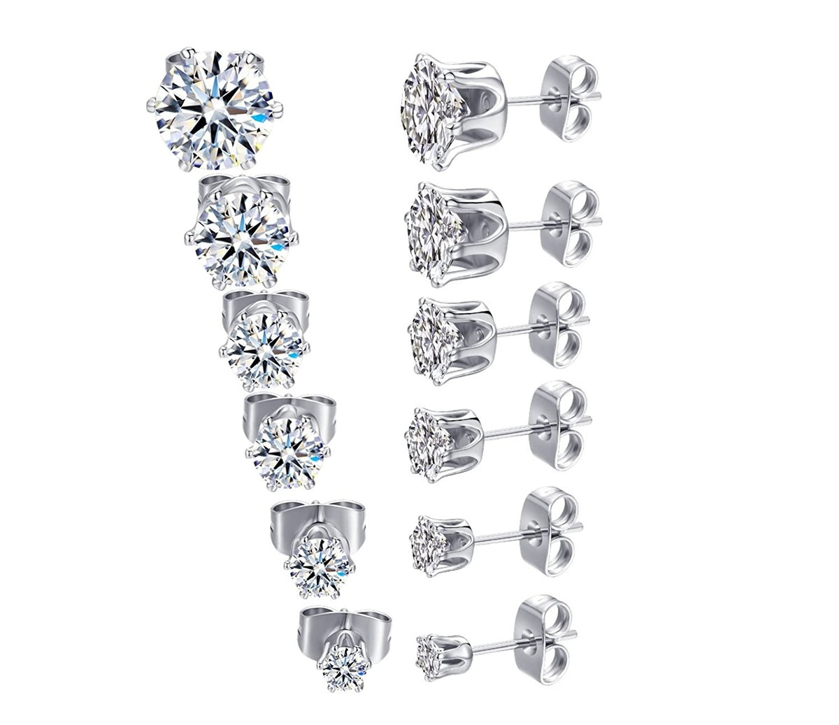 MDFUN White Gold-Plated Stud Earrings (6 Pairs)