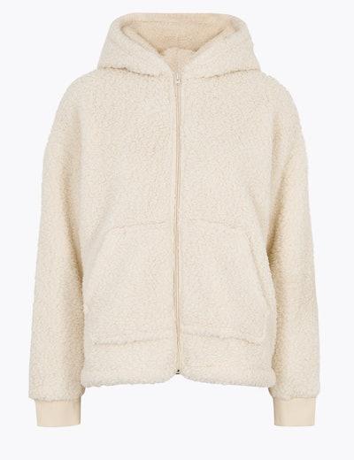 Fleece Hooded Zip Up Short Jacket