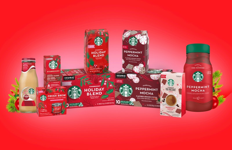 Starbucks holiday grocery products are already back in stores.