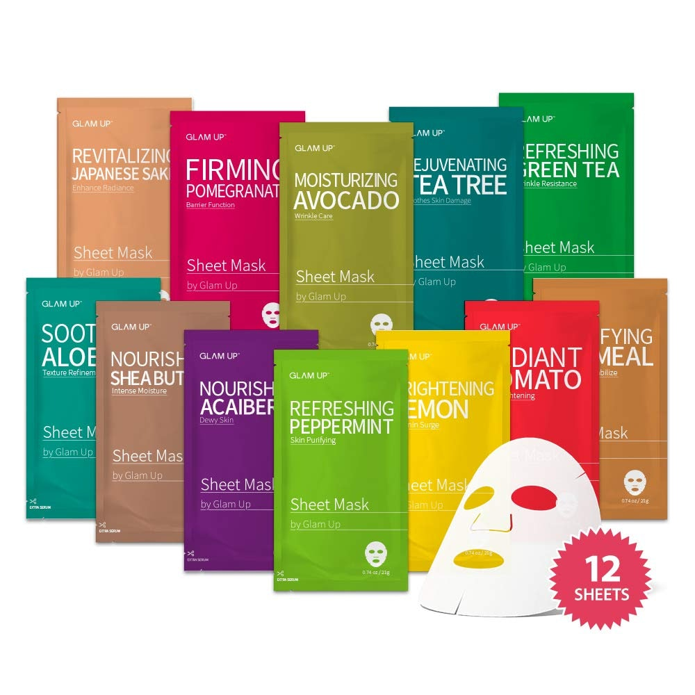 Glam Up Sheet Masks (12-Pack)
