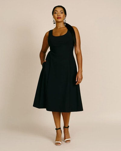 Bonded Neoprene Flare Dress