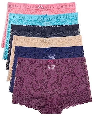 Barbra's 6 Pack of Lace Boyshort Panties