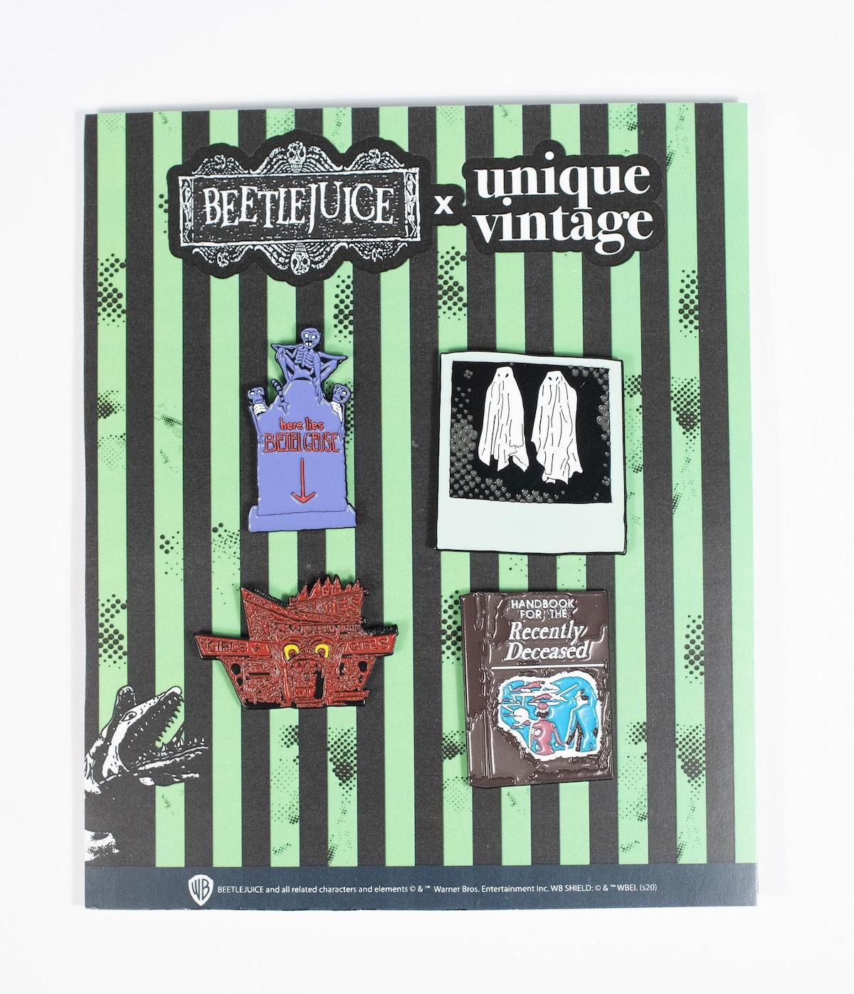 Beetlejuice x Unique Vintage Pin Set