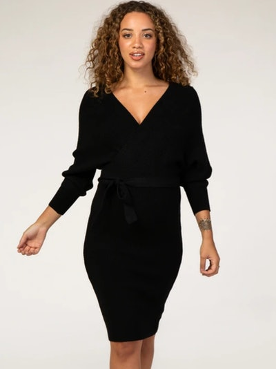 Waverleigh Black Ribbed Fitted Wrap Front Maternity Dress