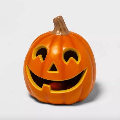 "9"" Light Up Orange Happy Face Halloween Jack-O'-Lantern"