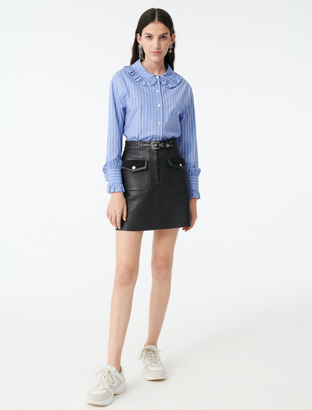 STRIPED SHIRT WITH A FRILLED COLLAR