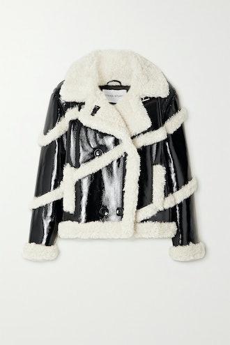Melandy Faux Shearling-Trimmed Faux Patent-Leather Coat