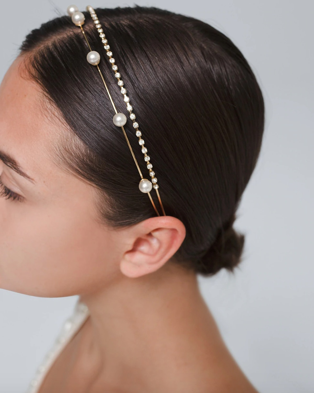 Two-Row Faux Pearl & Rhinestone Headband