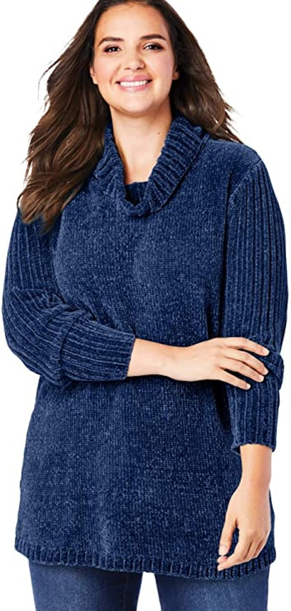 Woman Within Plus Size Chenille Cowlneck Pullover