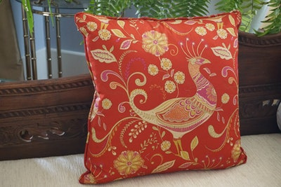 Red Chinoiserie Peacock Pillow