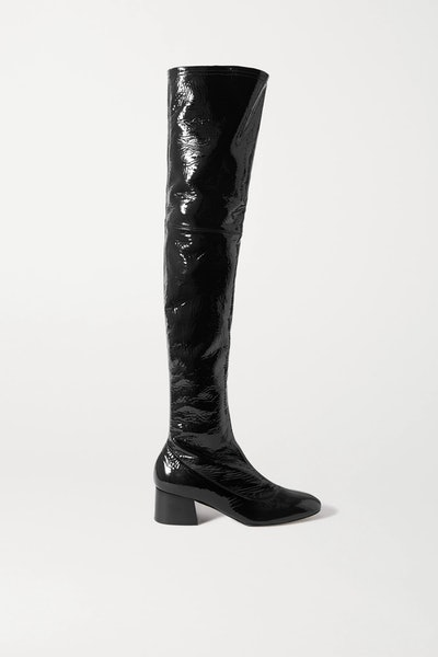 Sedona crinkled patent-leather over-the-knee boots
