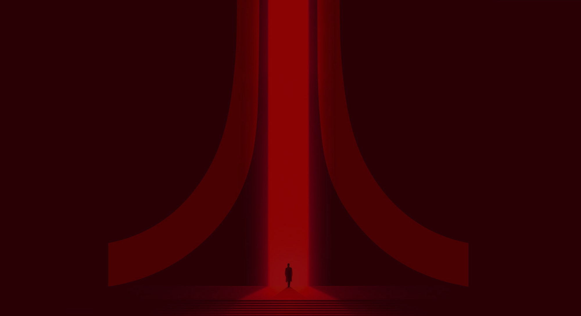 A person is walking into a deep red and black Atari logo symbol.
