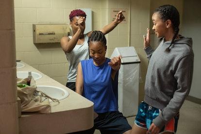 BRITTANY ADEBUMOLA as TAMIKA JONES, ODLEY JEAN as DOMINIQUE PIERRE and NAIYA ORTIZ as SONIA CRUZ in GRAND ARMY via the Netflix press site