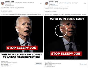 The campaign for Donald Trump has run Facebook ads using manipulated pictures of rival Joe Biden.