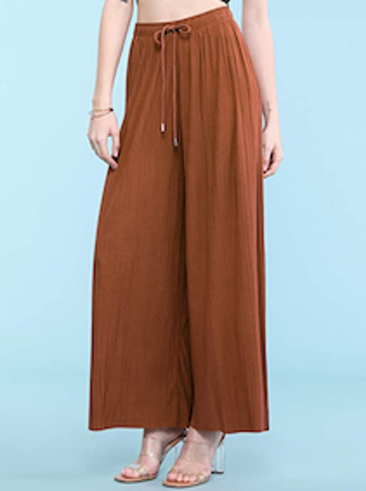 Made By Johnny Women's Premium Pleated Maxi Wide-Leg Palazzo Pants