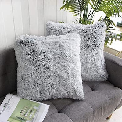 Uhomy Faux Fur Throw Pillow Covers (Set of 2)