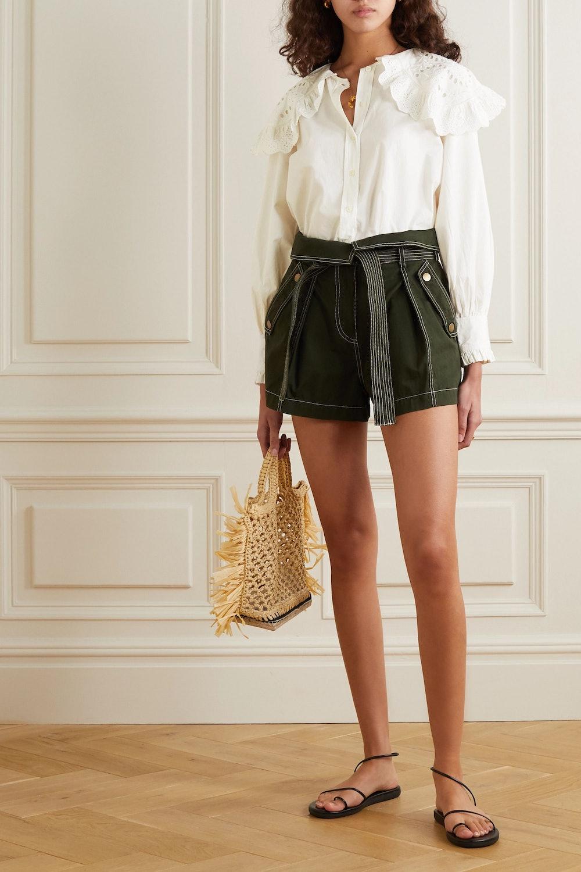 Marina broderie anglaise cotton-poplin blouse