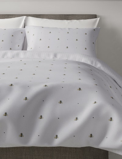 Cotton Rich Bee Print Double Bedding Set