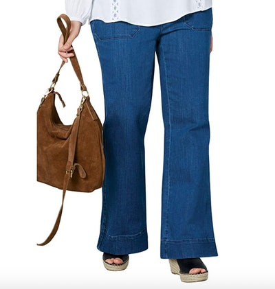 ellos Plus Size High-Waist Wide Leg Jeans